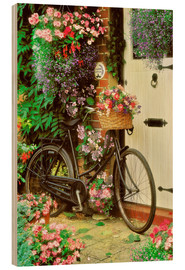 Wood print  Bicycle & Flowers - Simon Kayne