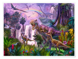 Poster Dinos in the jungle