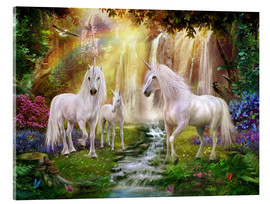 Acrylic glass  Waterfall Glade Unicorns - Jan Patrik Krasny