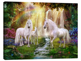 Canvas  Waterfall Glade Unicorns - Jan Patrik Krasny