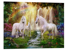 Foam board print  Waterfall Glade Unicorns - Jan Patrik Krasny