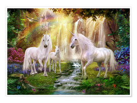 Poster  Waterfall Glade Unicorns - Jan Patrik Krasny