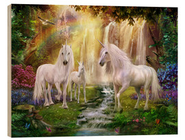 Wood  Waterfall Glade Unicorns - Jan Patrik Krasny