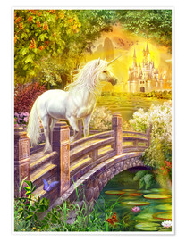 Premium poster  Enchanted garden unicorns - Jan Patrik Krasny