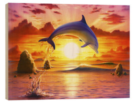 Wood print  Day of the dolphin - sunset - Robin Koni