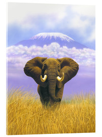 Acrylic glass  Elephant in front of Kilimanjaro - Chris Hiett