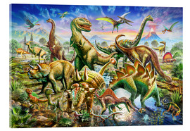Acrylic print  Assembly of dinosaurs - Adrian Chesterman