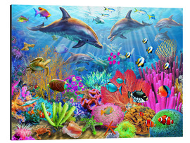 Alu-Dibond  Dolphin coral reef - Adrian Chesterman