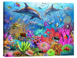 Canvas  Dolphin Coral Reef - Adrian Chesterman