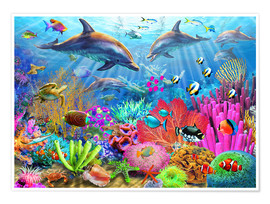 Poster  Dolphin Coral Reef - Adrian Chesterman