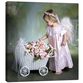Canvas print  Angel with flower basket - Eva Freyss