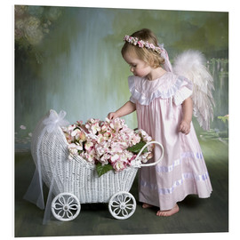 Foam board print  Angel with flower basket - Eva Freyss