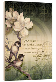 Wood print  Poem birds and flowers - Jody Bergsma