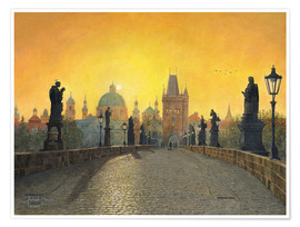 Premium poster Misty Dawn, Charles Bridge, Prague