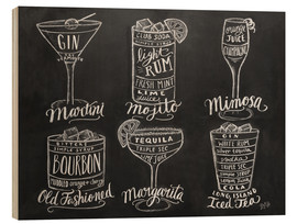 Wood print  Cocktail Recipes - Lily & Val