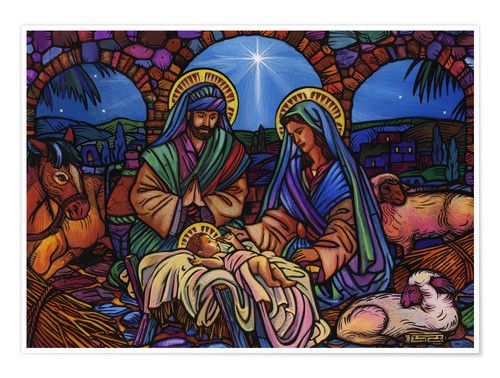 Premium poster Stained Glass Nativity