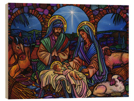 Wood print  Stained Glass Nativity - Lewis T. Johnson