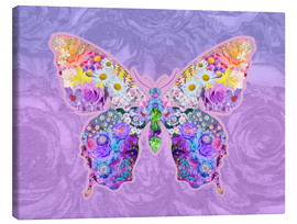 Canvas  Purple Floral Buttefly - Alixandra Mullins