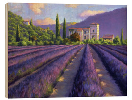 Wood print  Lavender field with Abbey - Jay Hurst