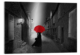 Acrylic glass  The woman with the red umbrella - Monika Jüngling