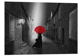 Foam board print  The woman with the red umbrella - Monika Jüngling