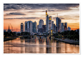 Premium poster  Frankfurt Skyline Sunset Skyscrapers - Frankfurt am Main Sehenswert