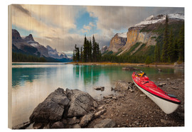 Wood print  Kayak on the mountain lake - Gary Luhm