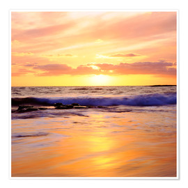 Premium poster Sunset on the Pacific Ocean