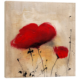 Wood print  Poppies I - Vittorio Vitale