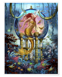 Premium poster  Red Mermaid - Ciro Marchetti