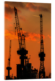 Acrylic glass  Crane silhouette Port of Hamburg - Dennis Stracke