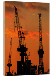 Wood print  Crane silhouette Port of Hamburg - Dennis Stracke