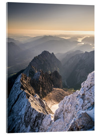 Acrylic glass  View over the Alps from Zugspitze - Andreas Wonisch