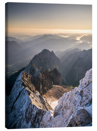 Canvas  View over the Alps from Zugspitze - Andreas Wonisch