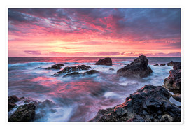 Premium poster  Sunset in Lanzarote at Los Hervideros - Andreas Wonisch