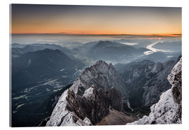 Acrylic print  Sunrise from Zugspitze mountain with view across the alps - Andreas Wonisch