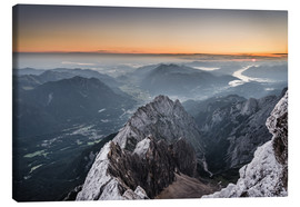 Canvas  Sunrise from Zugspitze mountain with view across the alps - Andreas Wonisch