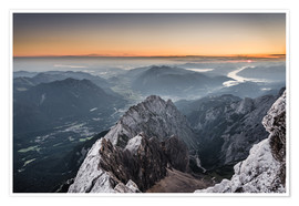 Poster  Sunrise from Zugspitze mountain with view across the alps - Andreas Wonisch