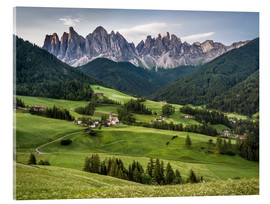 Acrylic print  View over Funes in the Dolomites - Andreas Wonisch
