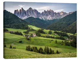 Canvas print  View over Funes in the Dolomites - Andreas Wonisch