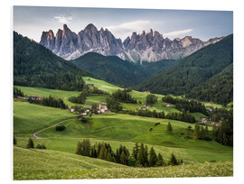 Foam board print  View over Funes in the Dolomites - Andreas Wonisch