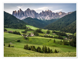 Premium poster View over Funes in the Dolomites