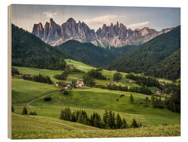 Wood  View over Funes in the Dolomites - Andreas Wonisch
