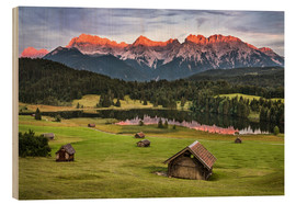 Wood print  Alpenglow at Karwendel mountains - Andreas Wonisch