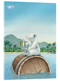 Acrylic print  The little polar bear eating a banana