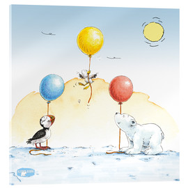Acrylic print  The little polar bear is celebrating a party