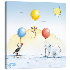 Canvas print  The little polar bear is celebrating a party