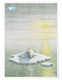 Premium poster  The Little Polar Bear on the ice floe