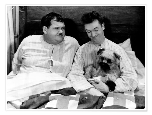 Premium poster Bedtime with Laurel & Hardy