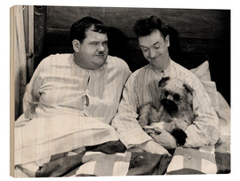 Wood print  Bedtime with Laurel & Hardy